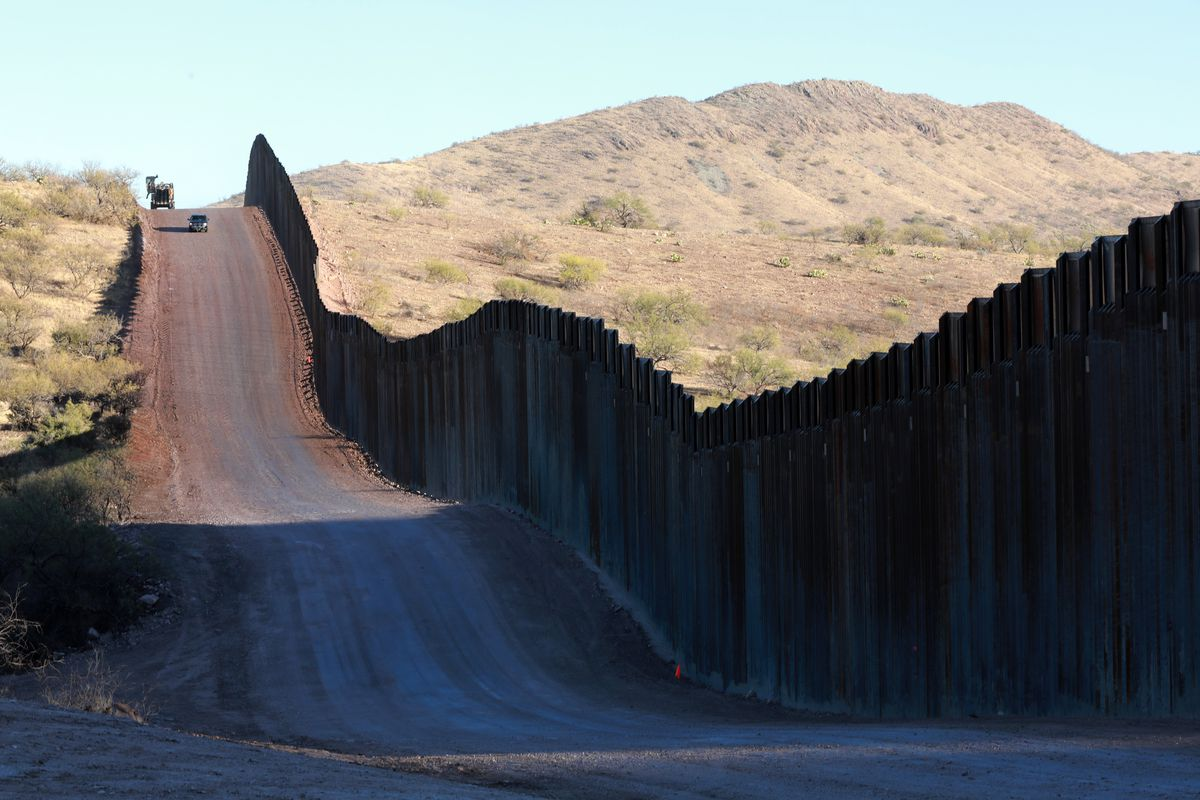 Part of the border wall between the US and Mexico.