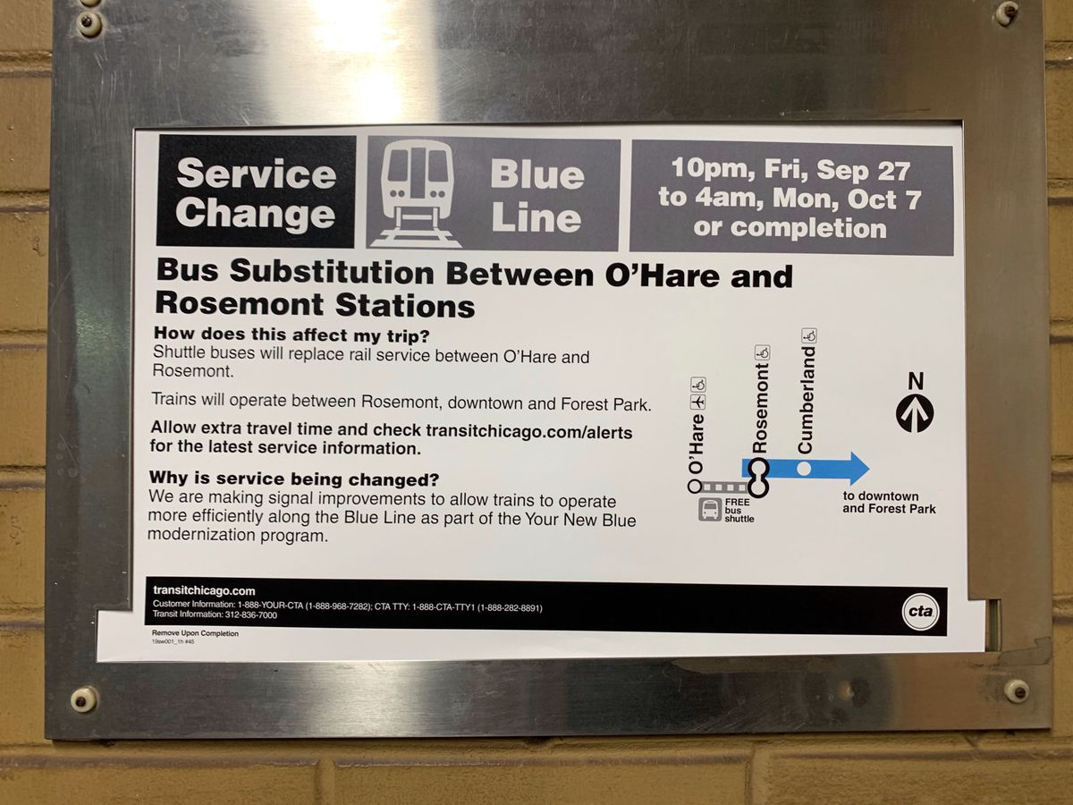 A sign explaining the service disruption between  Rosemont and O'Hare, September 27 to October 7.