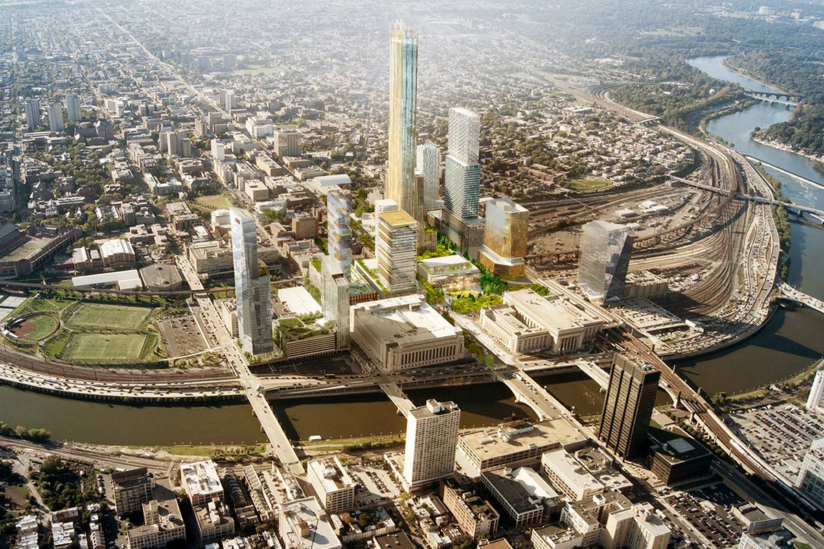A rendering of Schuylkill Yards in Philadelphia, with multiple towers surrounding 30th St. Station.
