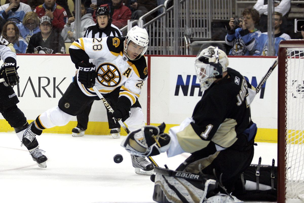 PITTSBURGH - NOVEMBER 10:  Brent Johnson #1 of the Pittsburgh Penguins maeks a save on Mark Recchi #28 of the Boston Bruins at Consol Energy Center on November 10 2010 in Pittsburgh Pennsylvania.  (Photo by Justin K. Aller/Getty Images)