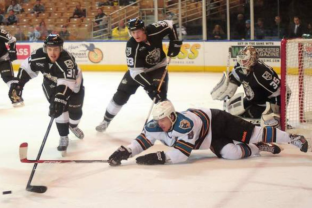 Worcester Sharks forward Greger Hanson dives for a loose puck in front of Manchester Monarchs goaltender Jean-Francois Berube during Friday night's game at the DCU Center (Steve Lanava/Telegram.com)