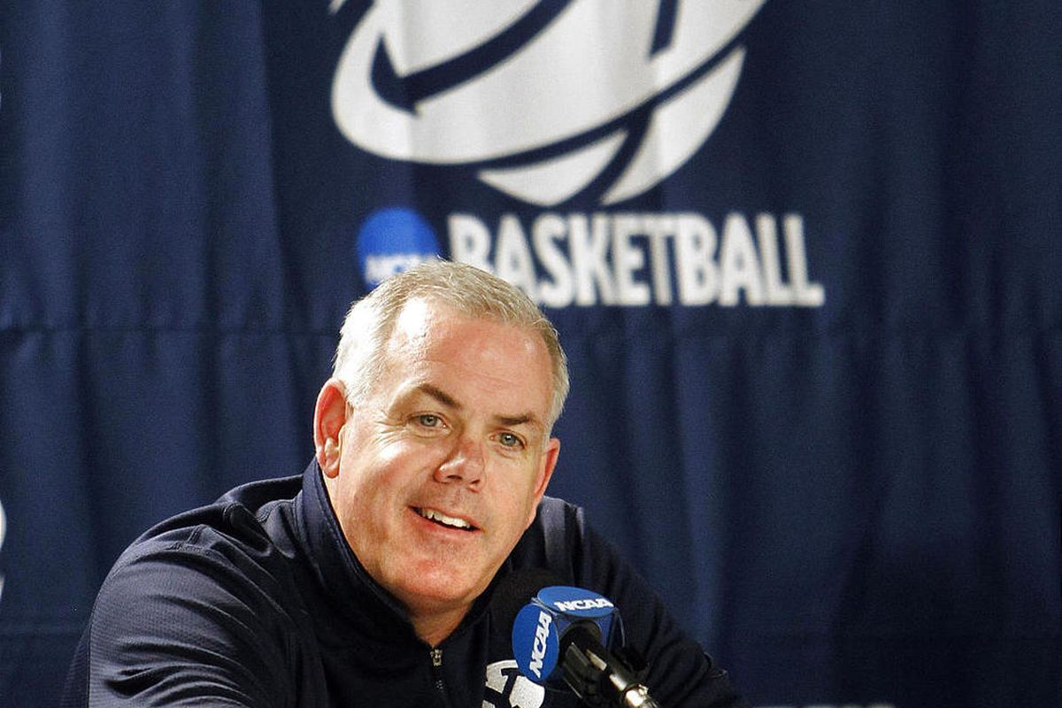 BYU basketball Dave Rose take questions from the media just before his team takes the floor for practice at the KFC Yum! Center in Louisville, Kentucky for the NCAA Basketball Tournament 2nd round match-up with Marquette.     Wednesday, March 14, 2012 (St