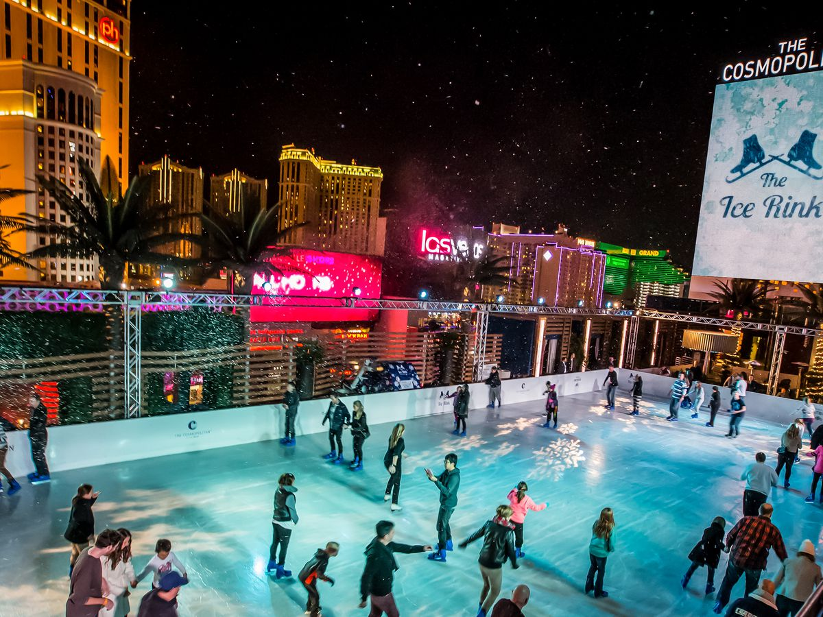 An outdoor scene at an ice rink