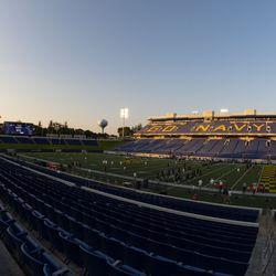 Navy-Marine Corps Memorial Stadium is viewed before an NCAA college football game between Navy and BYU, Monday, Sept. 7, 2020, in Annapolis, Md.