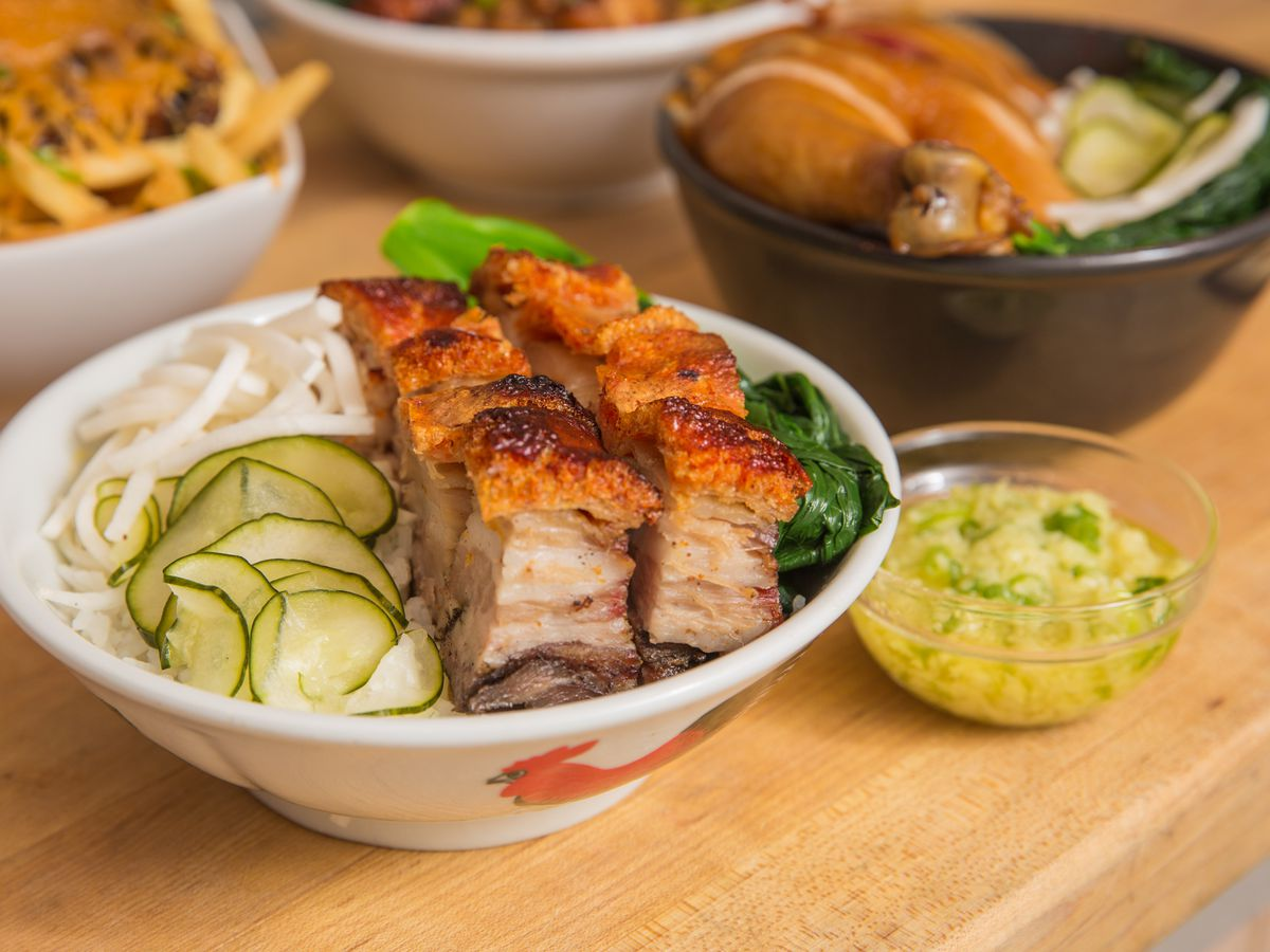 A barbecued pork rice bowl.