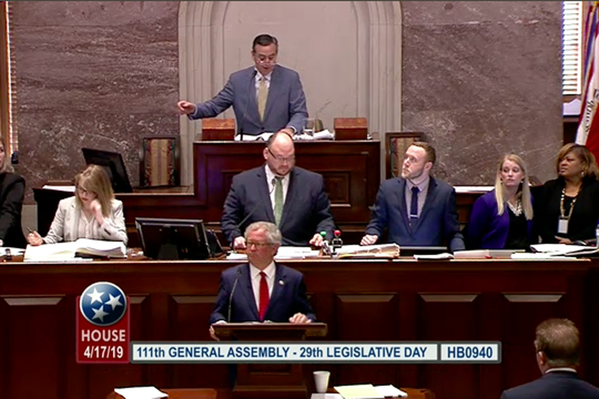 House Speaker Glen Casada moderates as Rep. Mark White of Memphis prepares to present the bill he carried for Gov. Bill Lee to create a new state charter school commission. Tennessee's House of Representatives voted 61-37 to approve the measure, which now awaits a vote in the Senate.