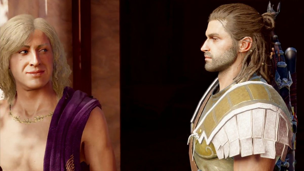 Two characters from Assassin's Creed Odyssey look at each other through the corners of their eyes