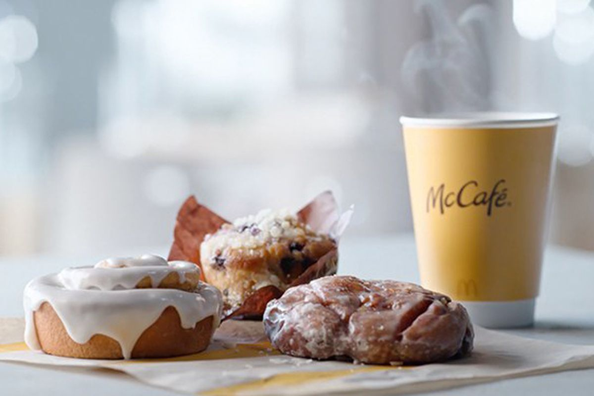 The new McCafé Bakery lineup will be available all day and featuresan apple fritter, blueberry muffin and cinnamon roll.