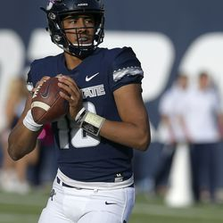 Utah State quarterback Jordan Love (10) throws the ball against New Mexico during an NCAA college football game, Saturday, Oct. 27, 2018, in Logan, Utah.