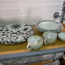 The three Missoni plates on the left