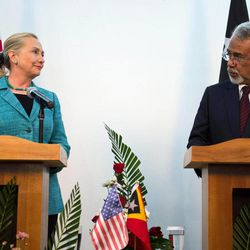 U.S. Secretary of State Hillary Rodham Clinton, left, speaks with East Timor Prime Minister Xanana Gusmao during a joint press conference at the Government Palace in Dili, East Timor Thursday, Sept. 6, 2012. U.S. Secretary of State Hillary Rodham Clinton is in East Timor to offer the small half-island nation support as it ends its reliance on international peacekeepers.