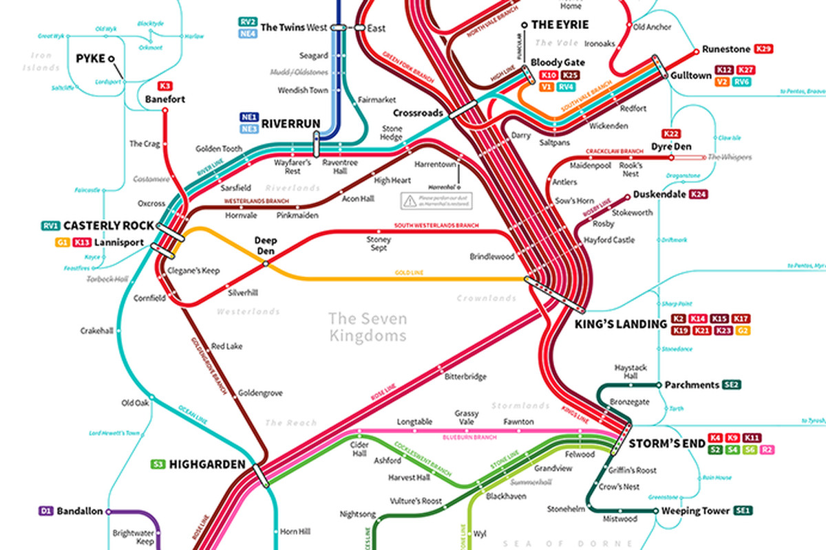 Game Of Thrones Subway Map.How To Get Around The Game Of Thrones World Using The Subway Polygon