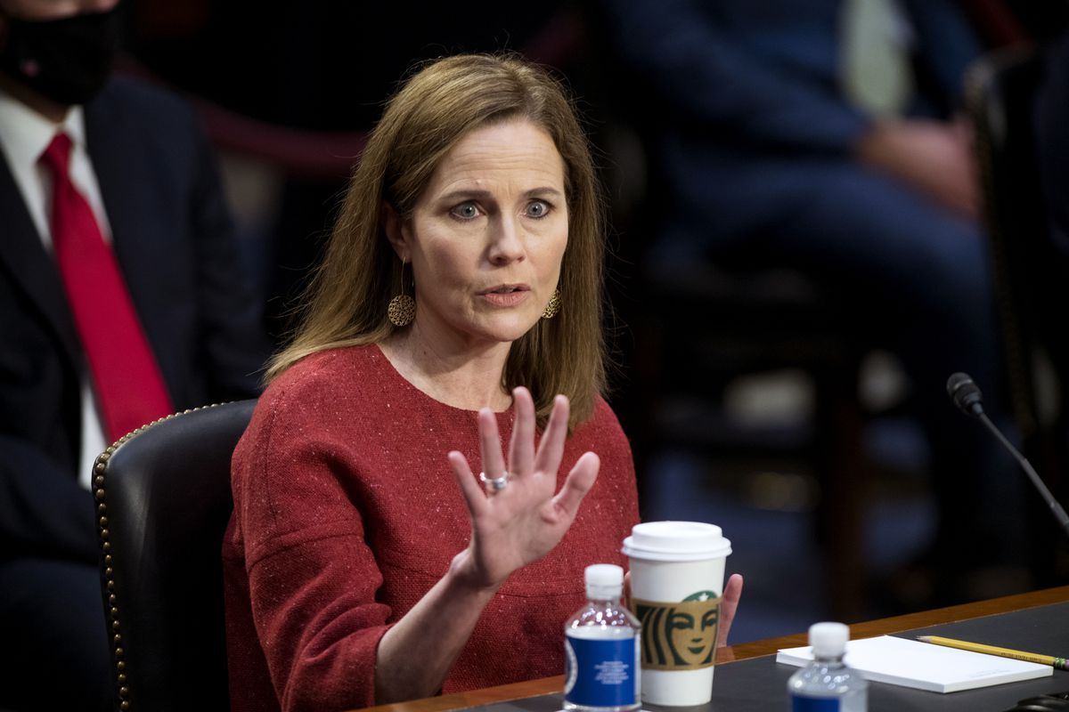 Supreme Court nominee Amy Coney Barrett speaks during her Senate Judiciary Committee confirmation hearing on Capitol Hill on Oct. 13, 2020.