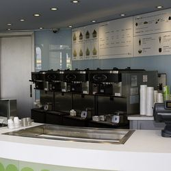 The counter at Pinkberry.