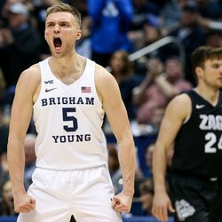 Brigham Young Cougars guard Jake Toolson (5) yells during the game against the Gonzaga Bulldogs at the Marriott Center in Provo on Saturday, Feb. 22, 2020.