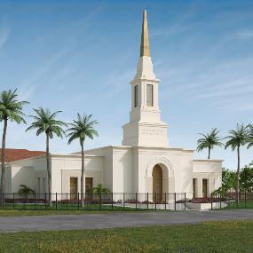 An artist's rendering of the Port Vila Vanuatu Temple.
