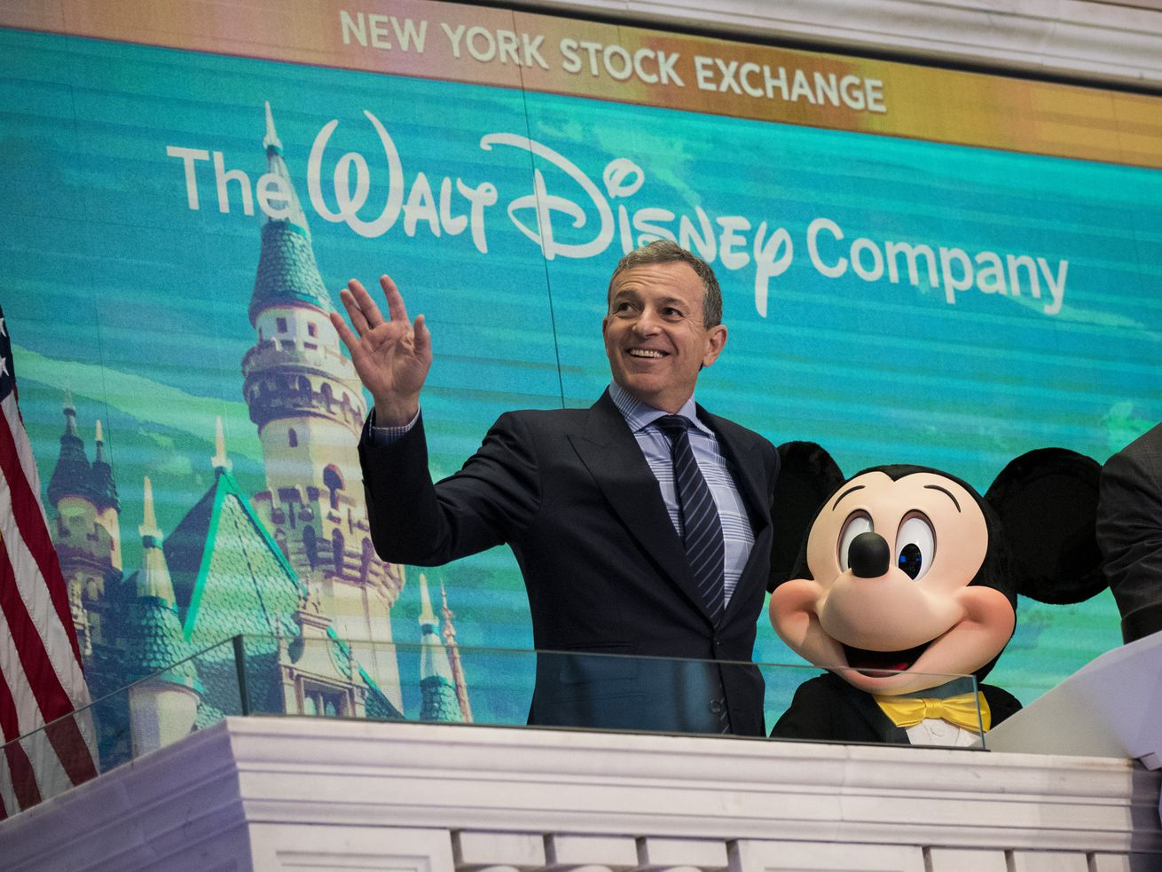 Walt Disney chair and CEO Bob Iger and Mickey Mouse in 2017.