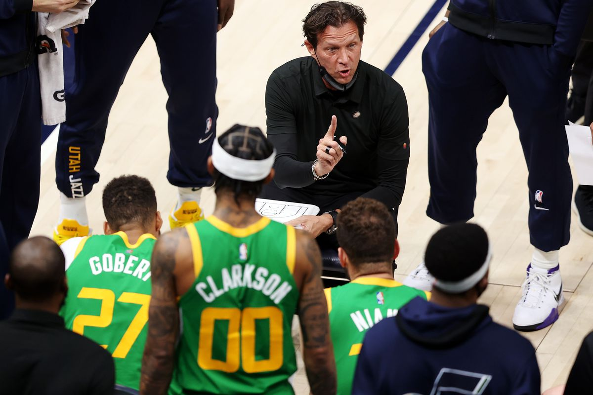 Utah head coach Quin Snyder gives instructions during a timeout as the Utah Jazz and the Denver Nuggets play an NBA basketball game at Vivint Arena in Salt Lake City on Friday, May 7, 2021.