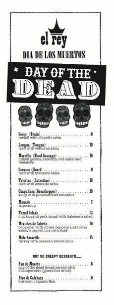 el rey halloween menu