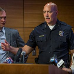 Salt Lake County Mayor Ben McAdams, Salt Lake City Police Chief Mike Brown and Salt Lake City Mayor Jackie Biskupski, left to right, answer questions at a press conference at the Salt Lake City Public Safety Building on Thursday, Sept. 29, 2016.