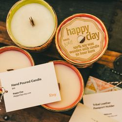 Hand-poured soy wax candles.