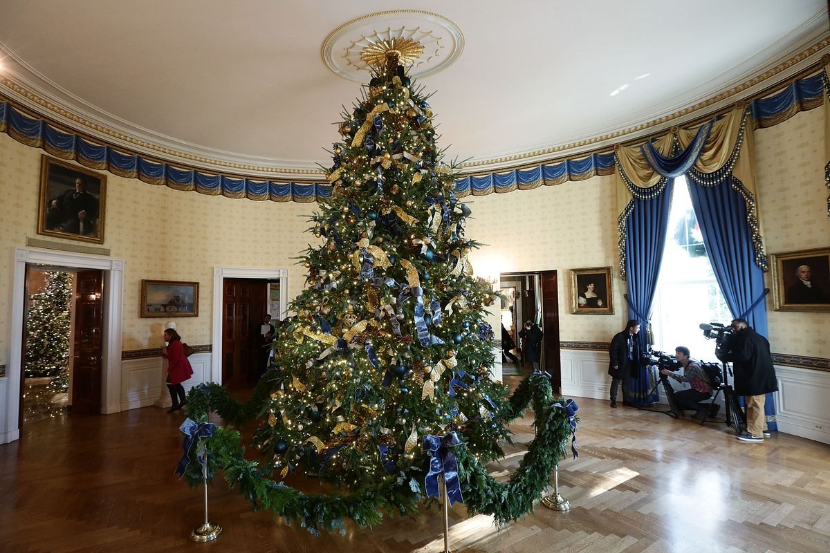 First lady Melania Trump unveils the White House Christmas decorations