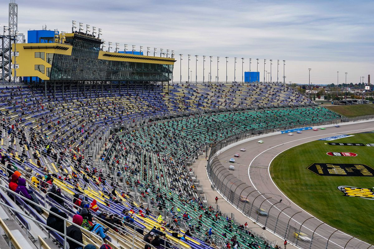 A general new of the grandstand at Kansas Speedway during the Hollywood Casino 400.