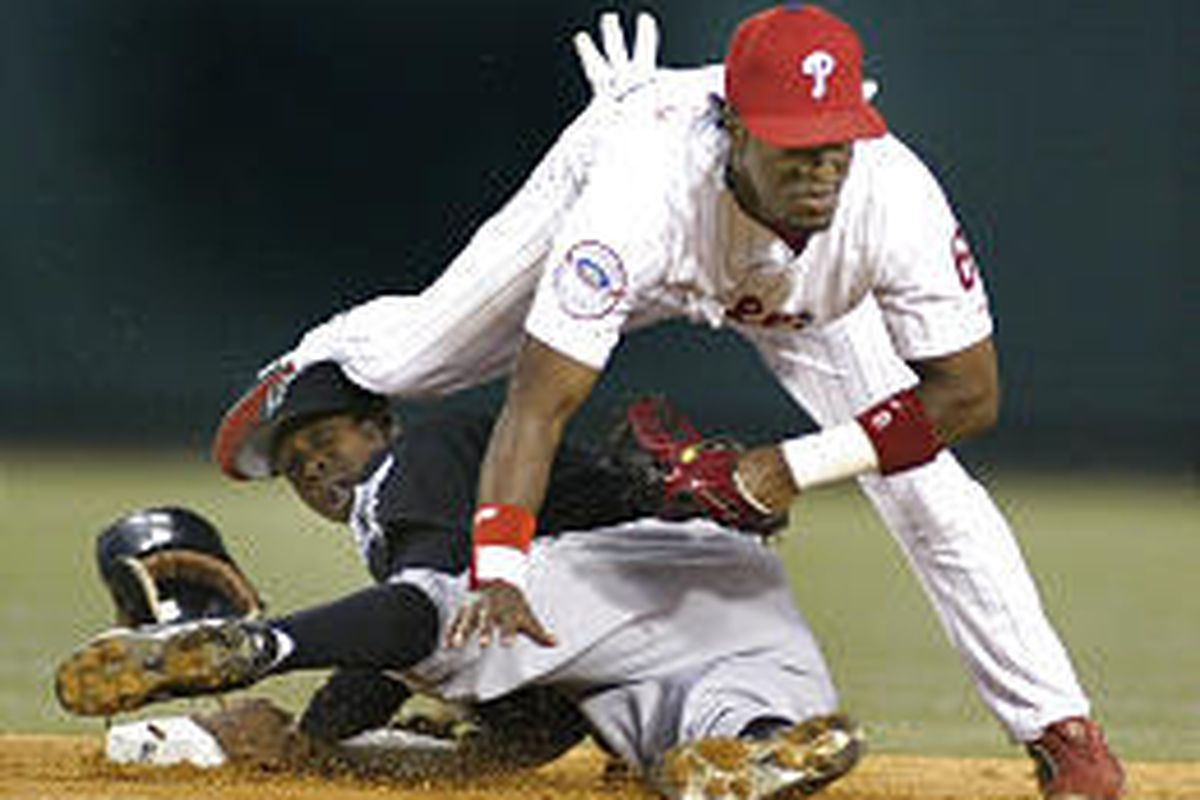 Florida's Juan Pierre successfully steals second base during the Marlins' big win over the Phillies.