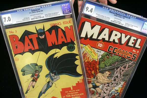 Batman No. 1 and Marvel Mystery Comics No. 9, popular in the '50s, are shown at Heritage Auction Galleries in Dallas.