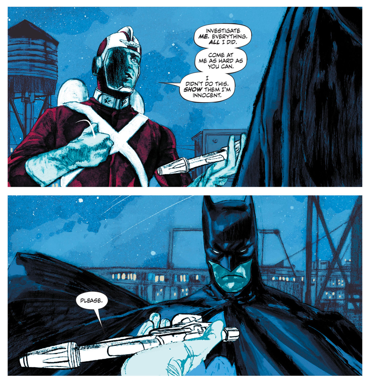 """Adam Strange tries to hand his ray gun to Batman, asking him to investigate him. """"Come at me as hard as you can. I didn't do this. Show them I'm innocent. Please."""" in Strange Adventures #1, DC Comics (2020)."""