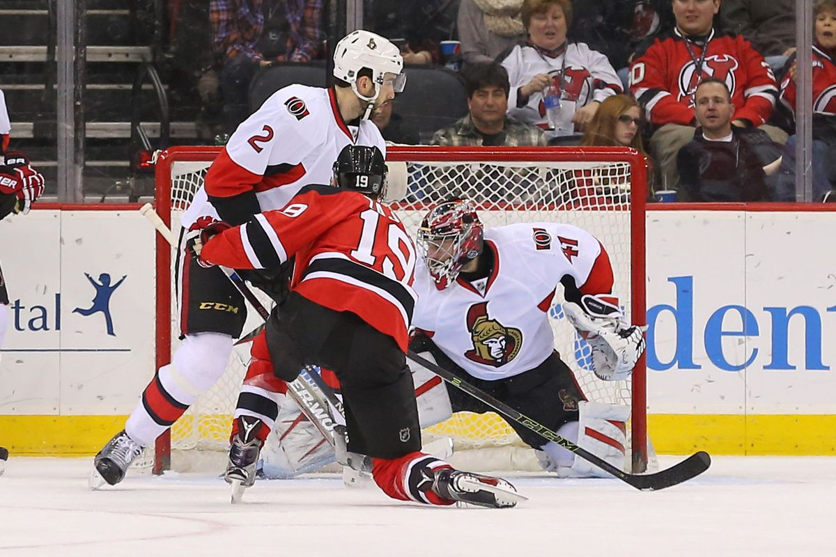 Jared Cowen arrives just in time to watch Travis Zajac score a goal