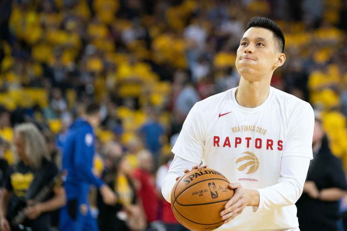 Toronto Raptors guard Jeremy Lin warms up before game three of the 2019 NBA Finals against the Golden State Warriors at Oracle Arena. The Raptors defeated the Warriors 123-109 to lead the series 2-1.