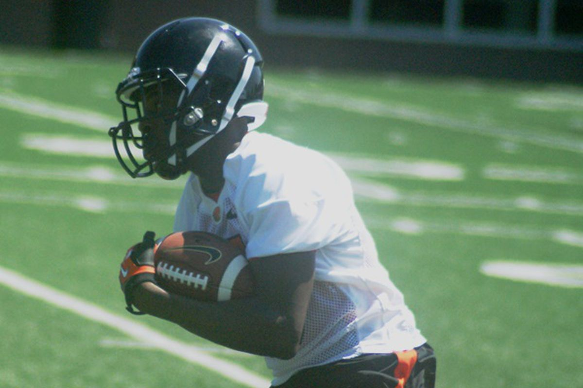 """Victor Bolden had the best catches of the day as the Beavers begin """"Life After Brandin""""."""