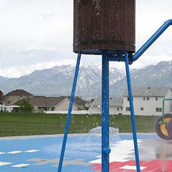 Riverton's new farm-themed water park for young children, which opens today, features a play tractor and water tower on anti-fungal soft ground surfacing.