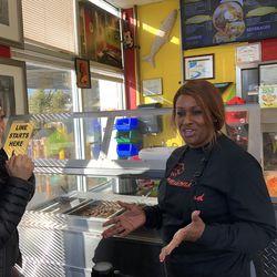 Ji Suk Yi and Jamie Blunt, Owner of Jamison's Soul Food in Auburn Gresham. | Rubye Lane/ For the Sun-Times