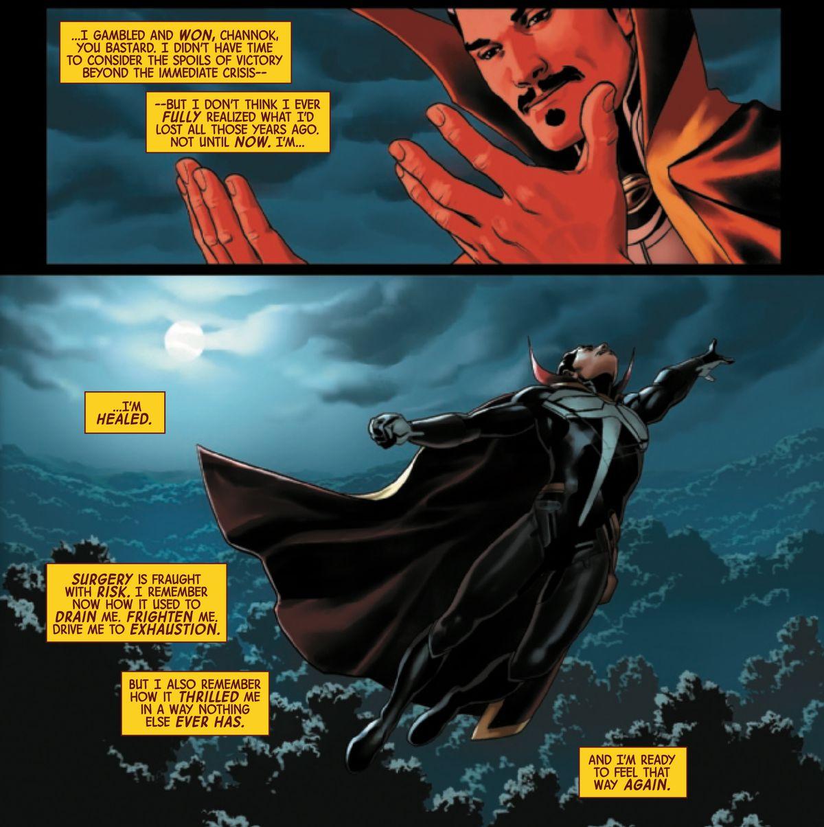 Doctor Strange admires his newly healed hands, in Doctor Strange #19, Marvel Comics (2019).