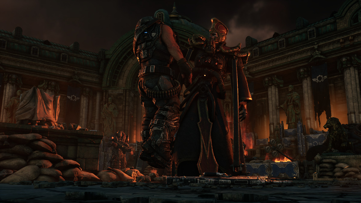 A locust leader holds a COG soldier by the throat near the end of act one of Gears Tactics
