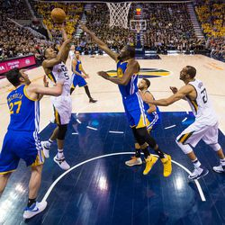 Utah Jazz guard Rodney Hood #5 shoots over Golden State Warriors forward Kevin Durant #35 during game four of the Western Conference Semifinal at Vivant Smart Home Arena in Salt Lake City on Monday, May 8, 2017.