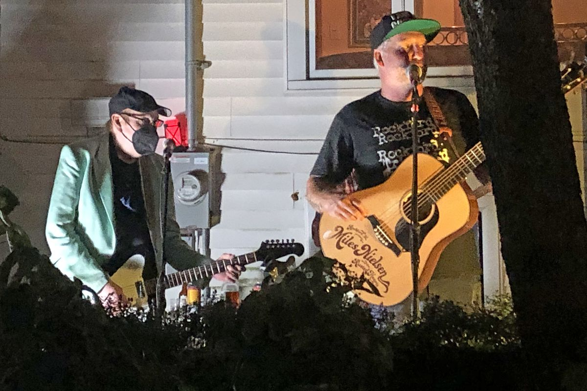 Cheap Trick guitarist Rick Nielsen (left) and son Miles Nielsen playing in Ravenswood on Friday, Oct. 1, 2021.