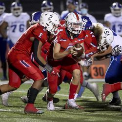 Action in the Bingham at East football game in Salt Lake City on Friday, Sept. 25, 2020.