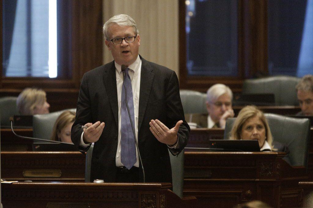 House Minority Leader Jim Durkin, R-Western Springs, speaks to lawmakers on the House floor Tuesday, May 17, 2016, in Springfield. (AP Photo/Seth Perlman)