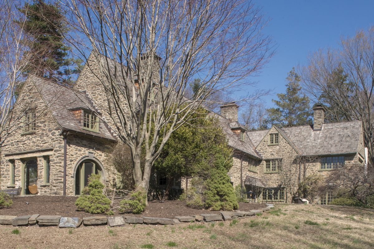 A large stone home.
