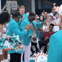 Mark Duper unveils his place in the Miami Dolphins Walk of Fame on December 2, 2018 in a ceremony in the Joe Robbie Alumni Plaza at Hard Rock Stadium, Miami Gardens, Florida.