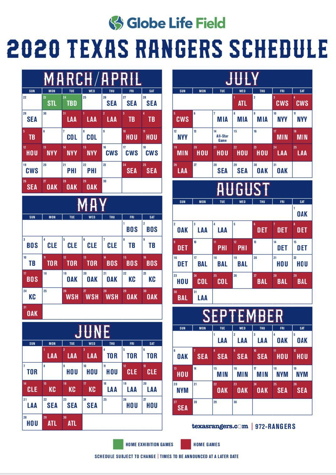 Rangers Home Schedule 2020 2020 Texas Rangers MLB schedule: Globe Life Park opens March 31