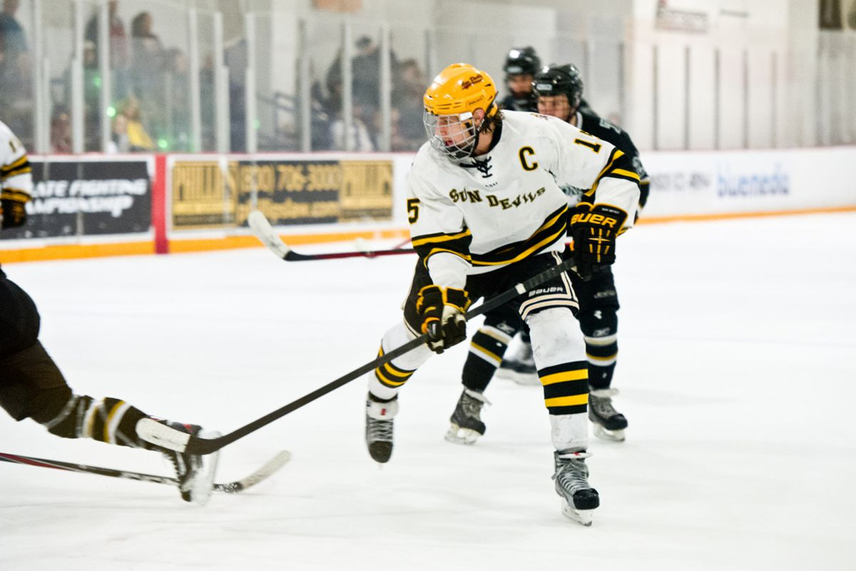 Captain Colin Hekle brought a physical style of play to the ice on Saturday night