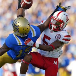 Nebraska cornerback Braylon Heard, right, breaks up a pass intended for UCLA wide receiver Devin Lucien during the first half of their NCAA college football game, Saturday, Sept. 8, 2012, in Pasadena, Calif.