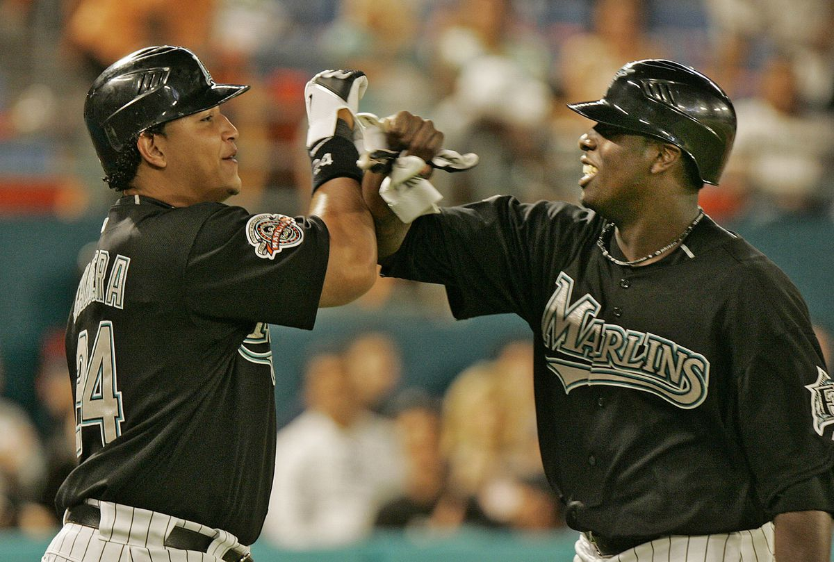 Florida Marlins Miguel Cabrera greets Dontrelle Willis after he scored in the fifth inning against the Atlanta Braves. The Marlins defeated the Braves, 8-7, at Dolphin Stadium in Miami, Florida, Monday, April 23, 2007.