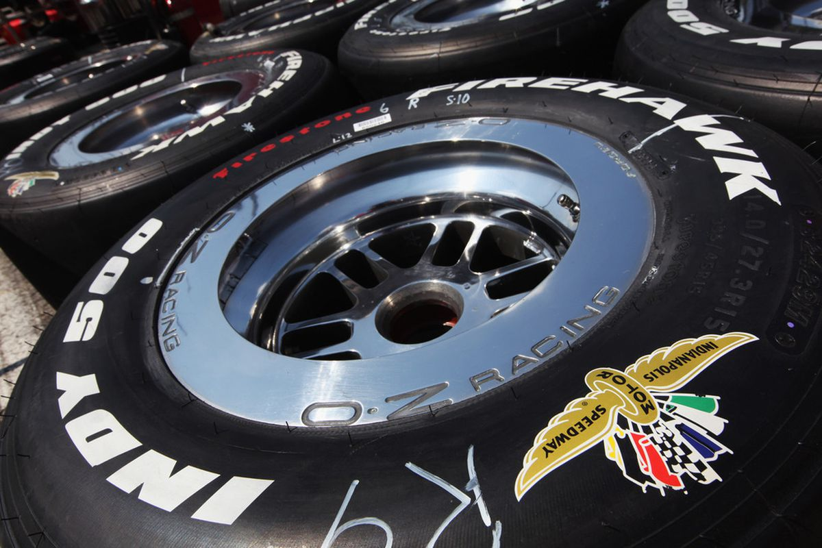 INDIANAPOLIS, IN - MAY 20:  A detail of logoed tires during practice for the Indianapolis 500 on May 20, 2011 at Indianapolis Motor Speedway in Indianapolis, Indiana.  (Photo by Jamie Squire/Getty Images)