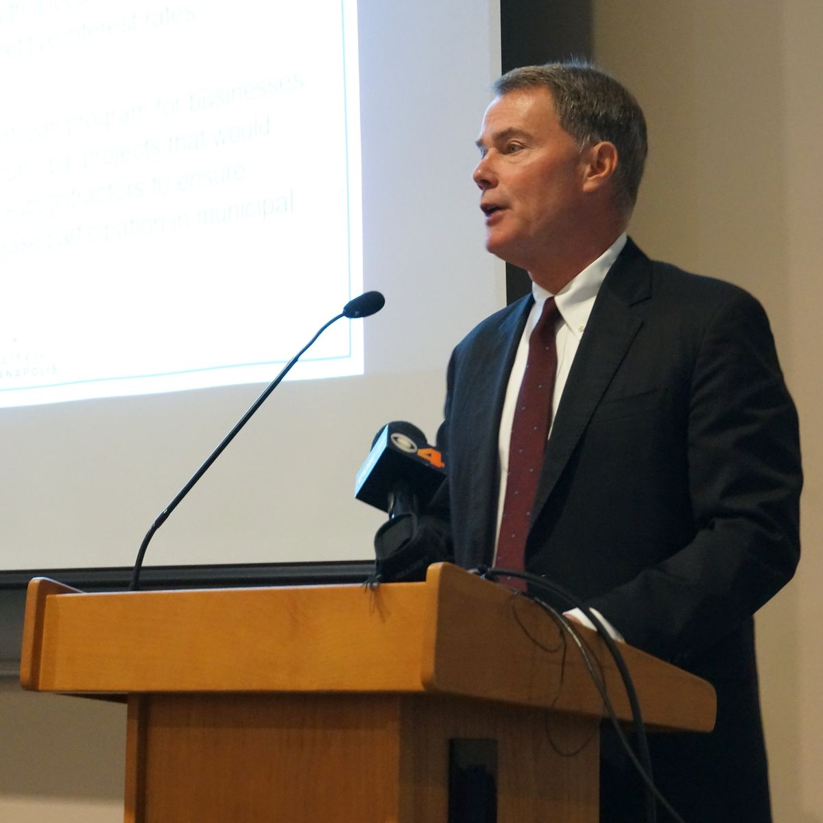 Joe Hogsett at a forum hosted by Concerned Clergy and the Baptist Ministers Alliance.