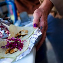 "fish tacos from Weird Fish taco bike by  <a href=""http://www.flickr.com/photos/jrodmanjr/4743150207/in/pool-520531@N21/"">jrodmanjr</a>"